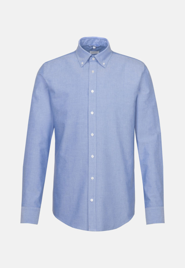 Bügelleichtes Oxford Business Hemd in Shaped mit Button-Down-Kragen und extra langem Arm in Hellblau |  Seidensticker Onlineshop