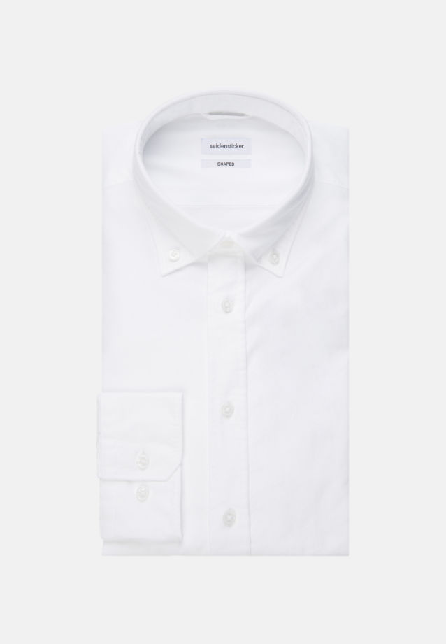 Bügelleichtes Oxford Business Hemd in Shaped mit Button-Down-Kragen und extra langem Arm in Weiß |  Seidensticker Onlineshop