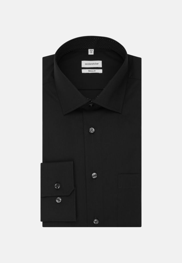 Non-iron Poplin Business Shirt in Regular with Kent-Collar and extra long sleeve in Black |  Seidensticker Onlineshop
