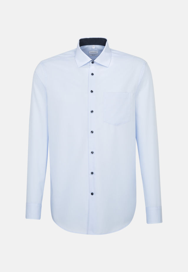 Non-iron Poplin Business Shirt in Regular with Kent-Collar and extra long sleeve in Medium blue |  Seidensticker Onlineshop