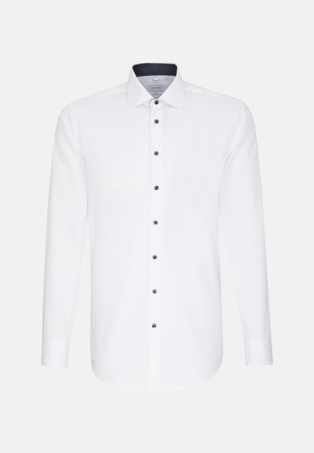 Non-iron Poplin Business Shirt in Shaped with Kent-Collar and extra long sleeve in White |  Seidensticker Onlineshop