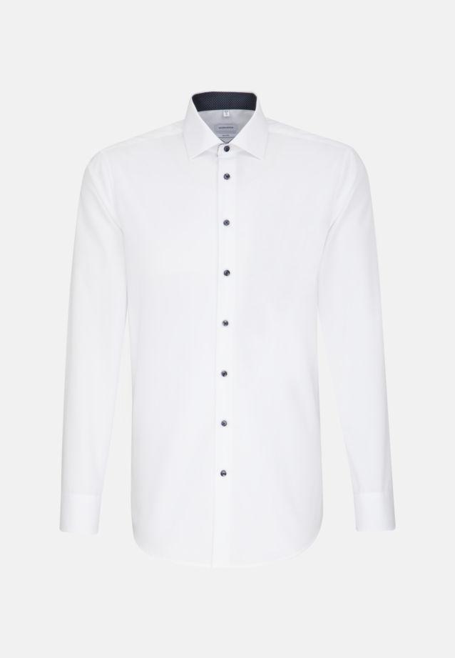 Bügelfreies Popeline Business Hemd in Shaped mit Kentkragen und extra langem Arm in Weiß |  Seidensticker Onlineshop
