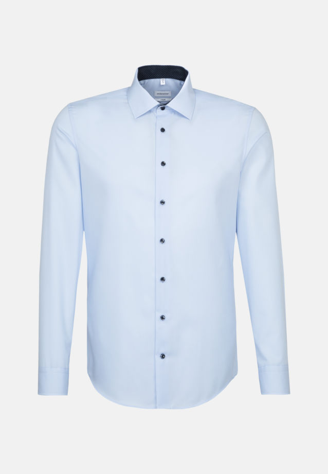 Non-iron Poplin Business Shirt in X-Slim with Kent-Collar and extra long sleeve in Medium blue |  Seidensticker Onlineshop