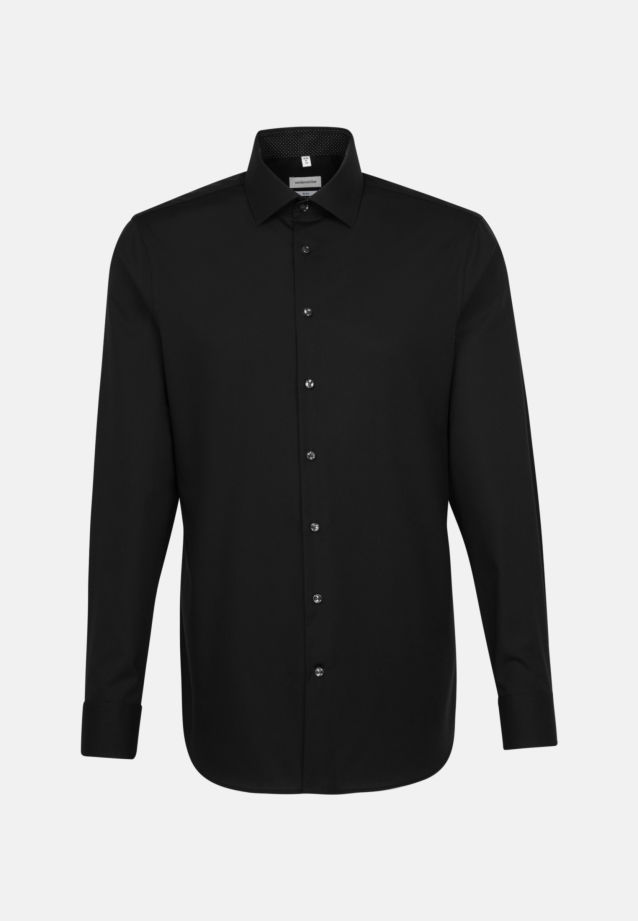 Non-iron Poplin Business Shirt in Slim with Kent-Collar and extra long sleeve in Black |  Seidensticker Onlineshop