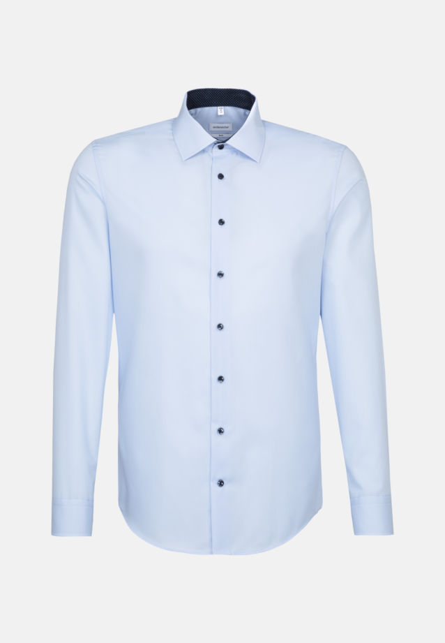 Non-iron Poplin Business Shirt in Slim with Kent-Collar and extra long sleeve in Medium blue |  Seidensticker Onlineshop