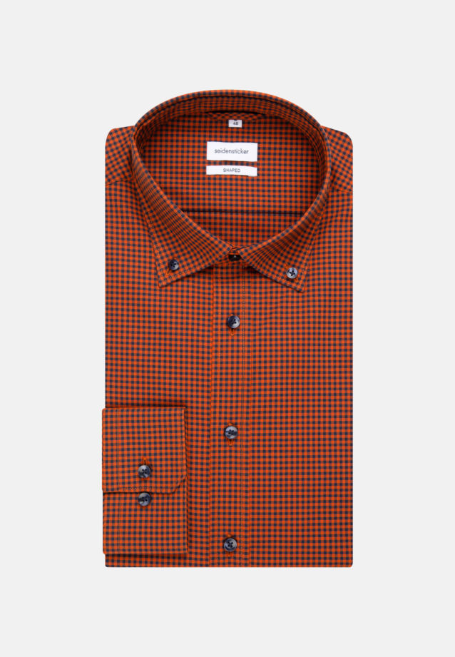 Bügelfreies Popeline Business Hemd in Shaped mit Button-Down-Kragen in Orange |  Seidensticker Onlineshop