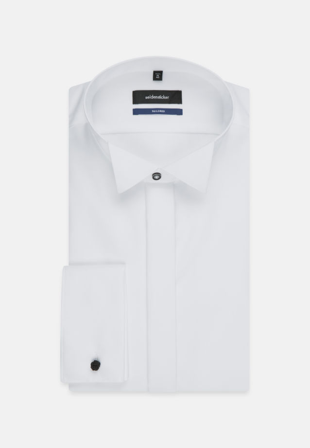 Non-iron Poplin Gala Shirt in Tailored with Wing Collar in weiß |  Seidensticker Onlineshop
