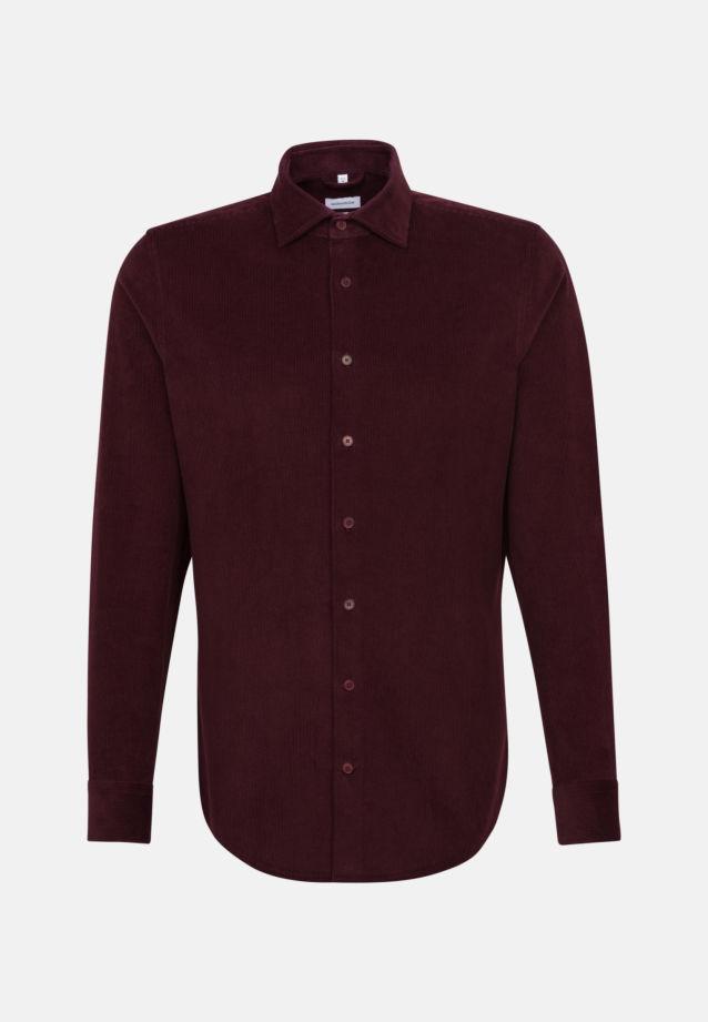 Easy-iron Corduroy Business Shirt in Slim with Kent-Collar in Red    Seidensticker Onlineshop