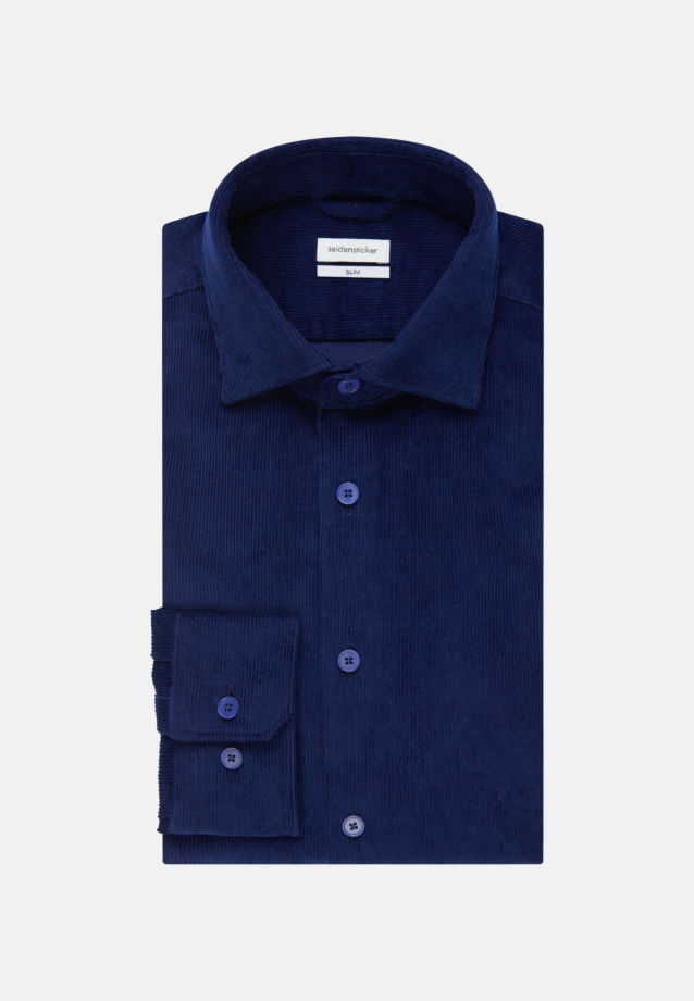 Easy-iron Corduroy Business Shirt in Slim with Kent-Collar in Medium blue |  Seidensticker Onlineshop