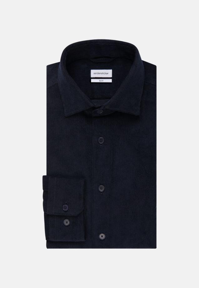Easy-iron Corduroy Business Shirt in Slim with Kent-Collar in Dark blue    Seidensticker Onlineshop