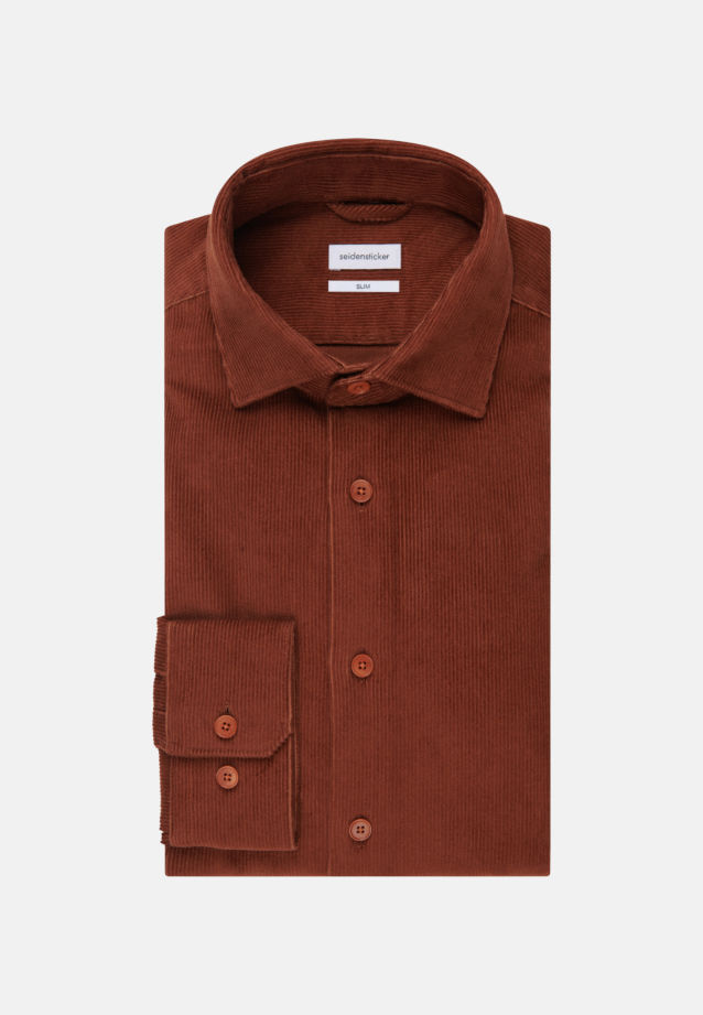Easy-iron Corduroy Business Shirt in Slim with Kent-Collar in Orange |  Seidensticker Onlineshop