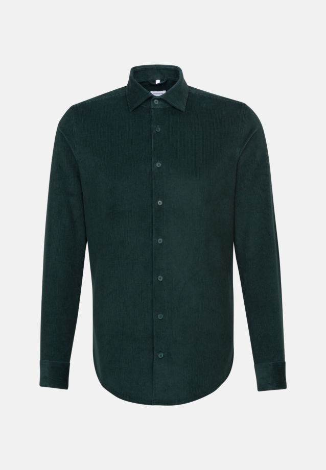 Easy-iron Corduroy Business Shirt in Slim with Kent-Collar in Green    Seidensticker Onlineshop