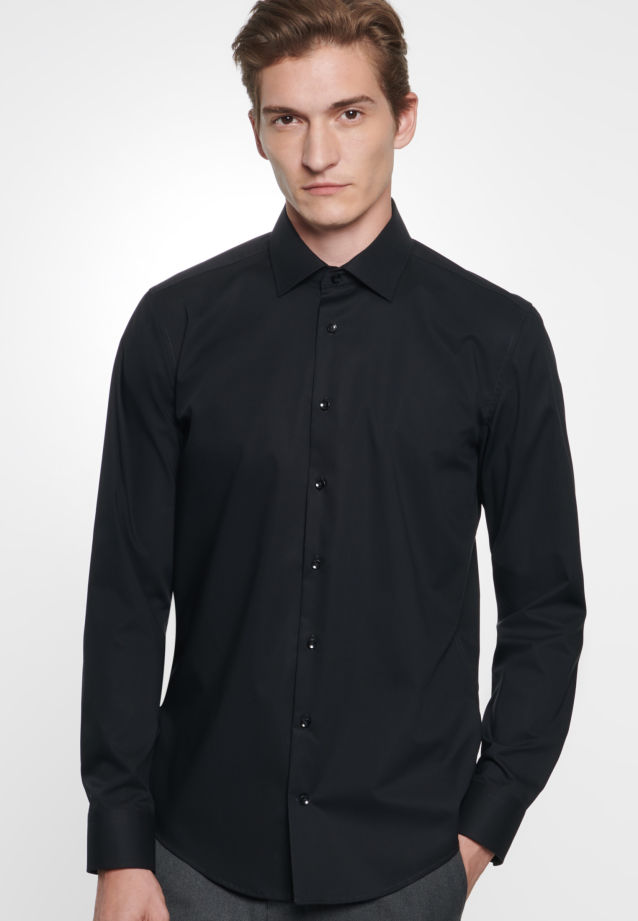Non-iron Chambray Business Shirt in X-Slim with Kent-Collar in Black |  Seidensticker Onlineshop