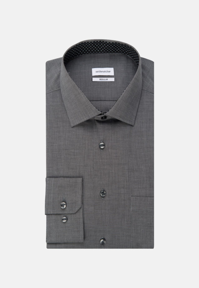 Non-iron Fil a fil Business Shirt in Regular with Kent-Collar and extra long sleeve in Grey |  Seidensticker Onlineshop