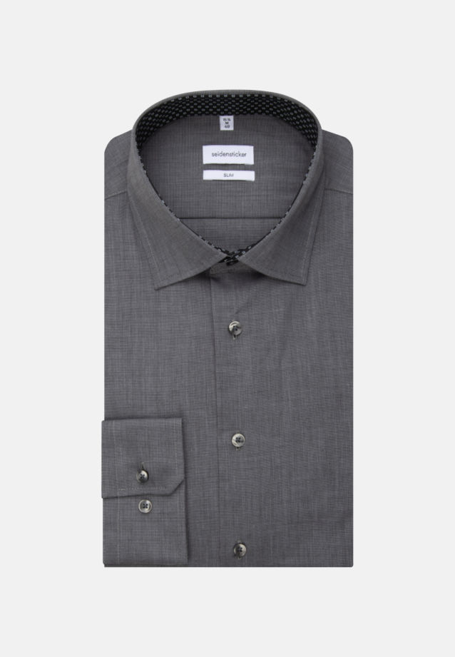Non-iron Fil a fil Business Shirt in Slim with Kent-Collar and extra long sleeve in Grey |  Seidensticker Onlineshop