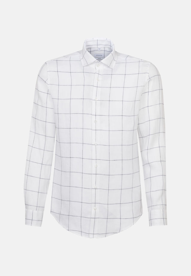 Easy-iron Linen Business Shirt in Shaped with Kent-Collar in White |  Seidensticker Onlineshop