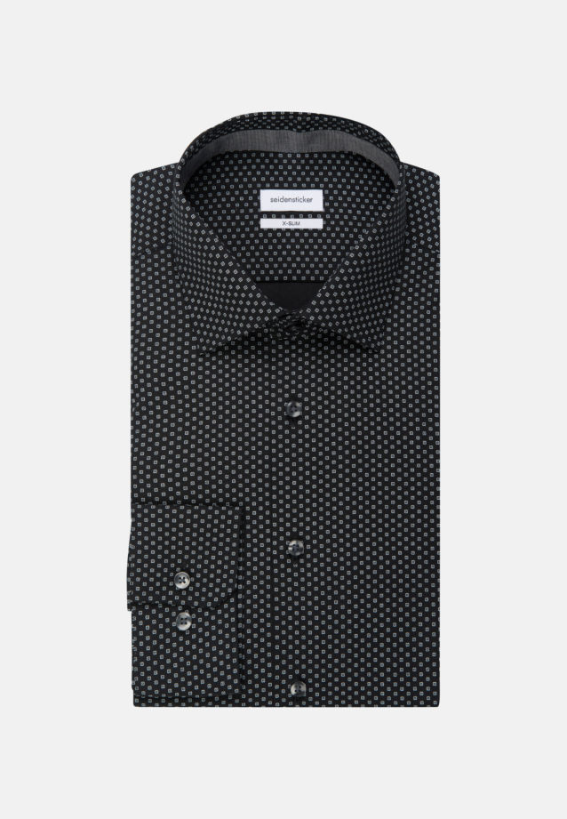 Easy-iron Poplin Business Shirt in X-Slim with Kent-Collar in Black |  Seidensticker Onlineshop