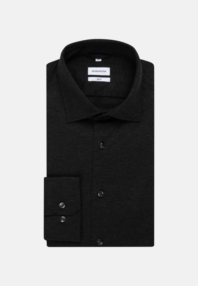 Jersey Business Hemd in Slim mit Kentkragen in Schwarz |  Seidensticker Onlineshop