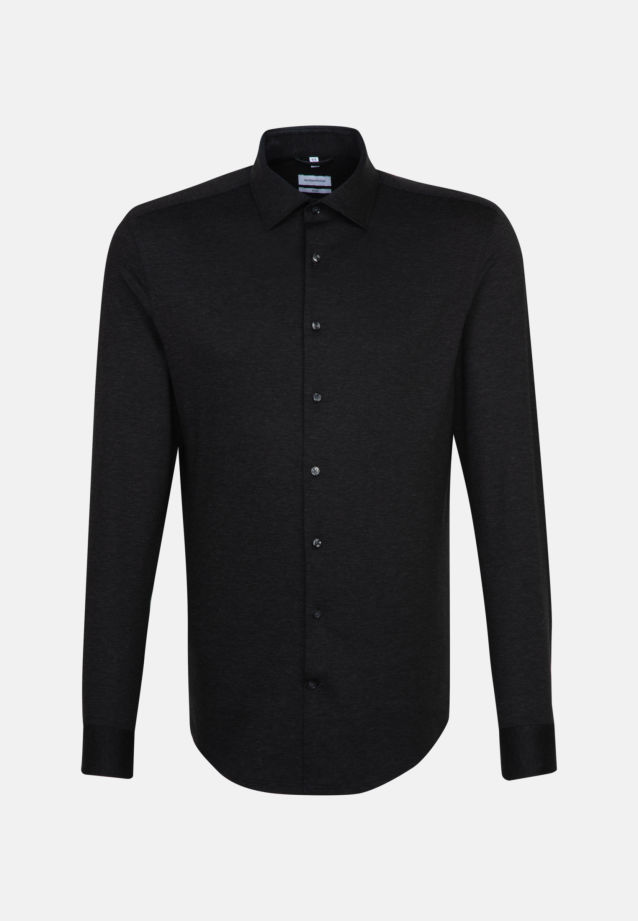 Jersey Business Shirt in Slim with Kent-Collar in Black |  Seidensticker Onlineshop