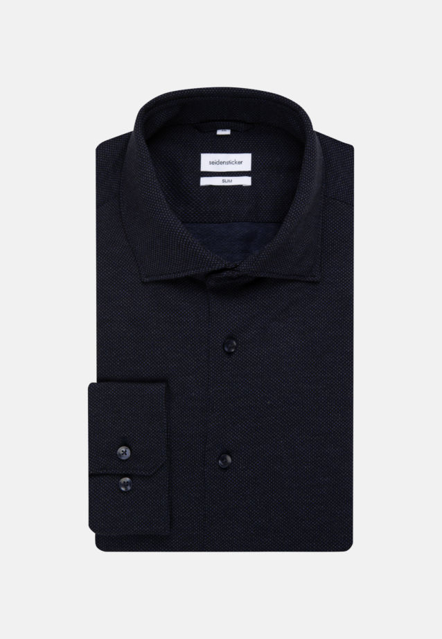 Jersey Business Shirt in Slim with Kent-Collar in Dark blue |  Seidensticker Onlineshop