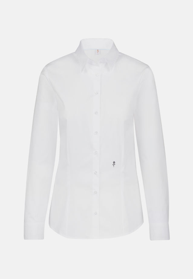 Popeline Hemdbluse aus 96% Baumwolle 4% Elastan in Weiß |  Seidensticker Onlineshop