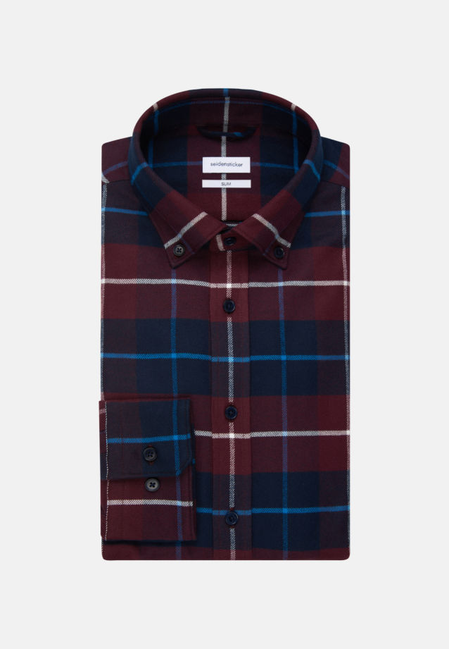 Flanell Business Hemd in Slim mit Button-Down-Kragen in Rot |  Seidensticker Onlineshop