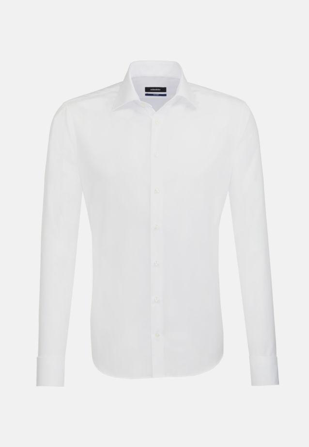 Bügelfreies Popeline Business Hemd in Tailored mit Kentkragen und extra langem Arm in weiß |  Seidensticker Onlineshop