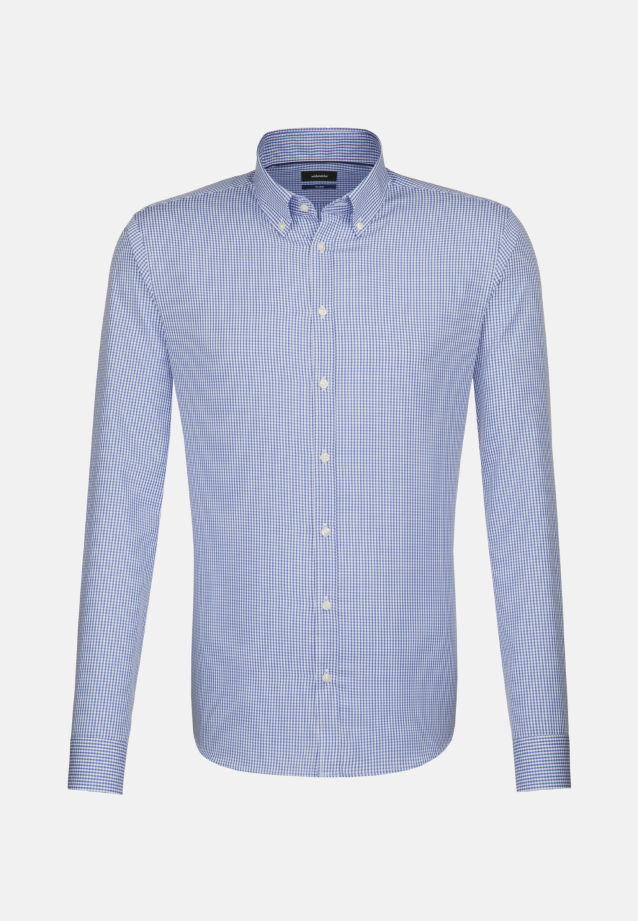 Bügelfreies Popeline Business Hemd in Tailored mit Button-Down-Kragen in blau |  Seidensticker Onlineshop