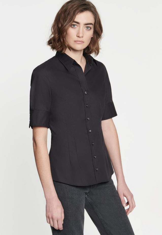Non-iron Short sleeve Poplin Shirt Blouse made of 100% Cotton in Black |  Seidensticker Onlineshop