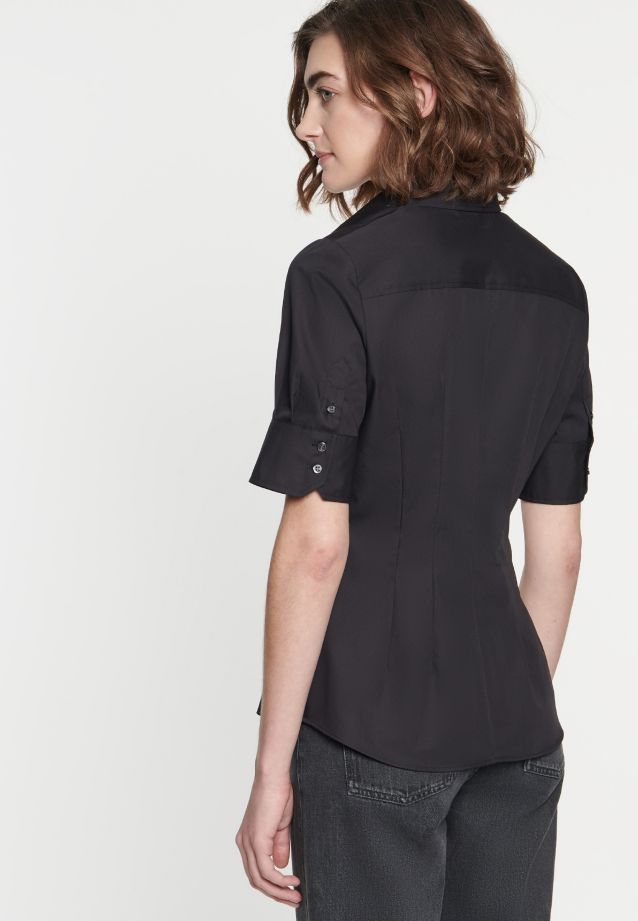Bügelfreie Kurzarm Popeline Hemdbluse aus 100% Baumwolle in schwarz |  Seidensticker Onlineshop