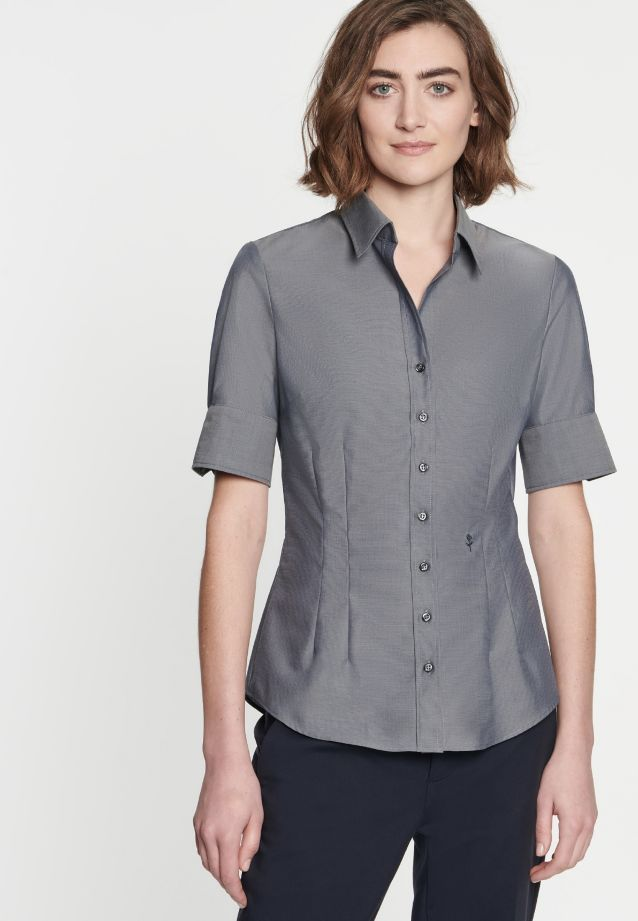 Non-iron Short sleeve Poplin Shirt Blouse made of 100% Cotton in Grey |  Seidensticker Onlineshop