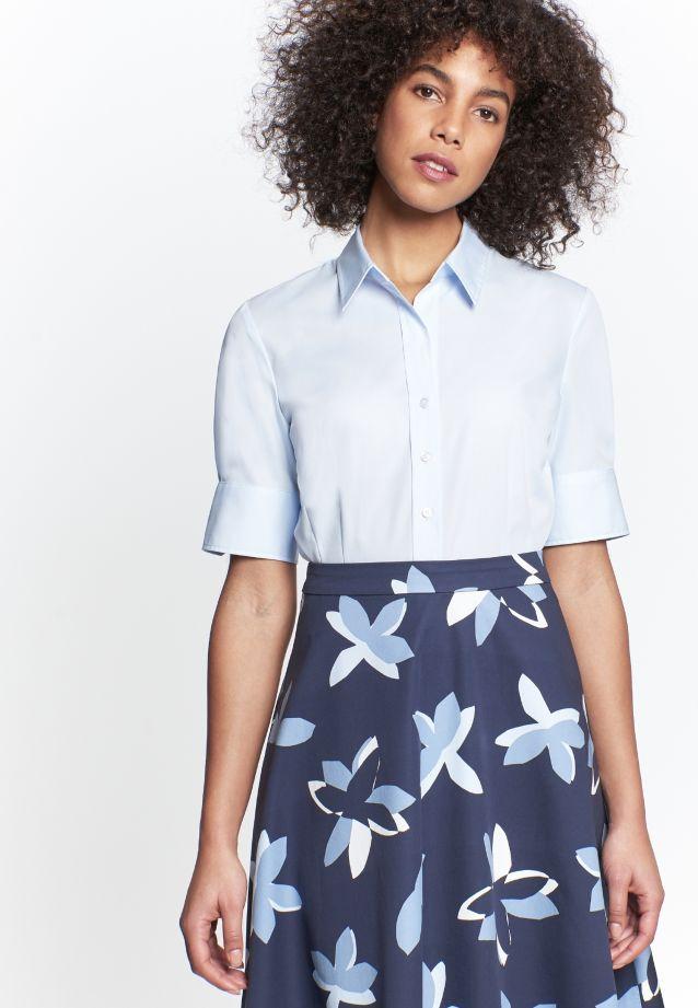 Bügelfreie Kurzarm Popeline Hemdbluse aus 100% Baumwolle in blau |  Seidensticker Onlineshop