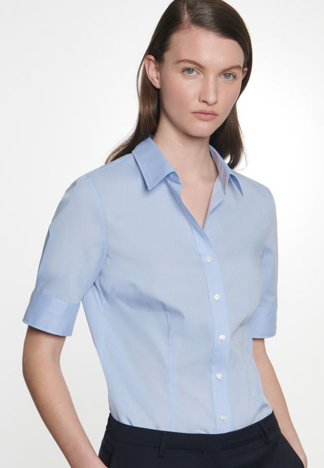 Non-iron Short sleeve Poplin Shirt Blouse made of 100% Cotton in Light blue |  Seidensticker Onlineshop
