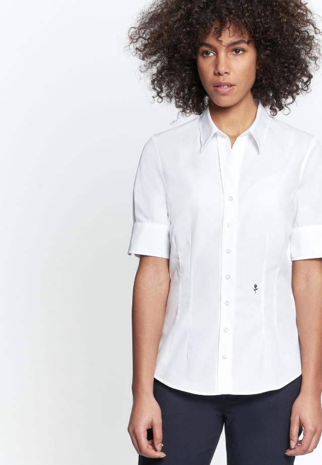 Non-iron Short arm Poplin Shirt Blouse made of 100% Cotton in White |  Seidensticker Onlineshop