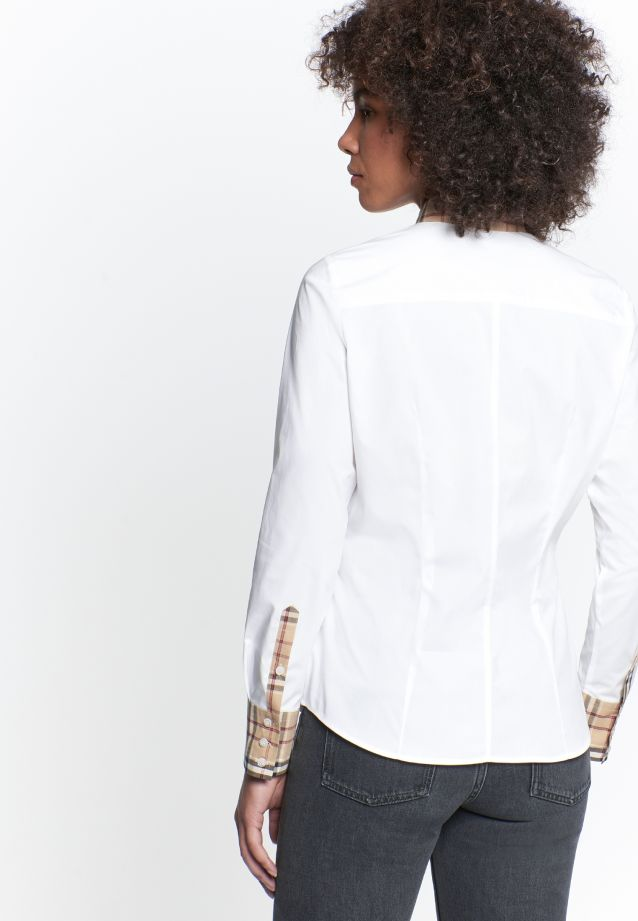 Poplin Shirt Blouse made of 96% Cotton 4% Elastane in White |  Seidensticker Onlineshop