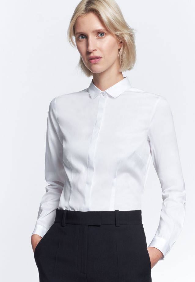 Poplin Shirt Blouse made of 81% Cotton 16% Polyamid/Nylon 3% Elastane in White |  Seidensticker Onlineshop