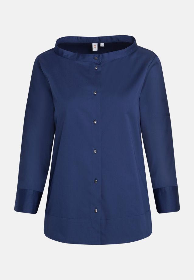 3/4 arm Satin Stand-Up Blouse made of 97% Cotton 3% Elastane in dkl. blau |  Seidensticker Onlineshop