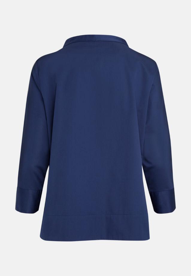 3/4 Arm Satin Stehkragenbluse aus 97% Baumwolle 3% Elastan in dkl. blau |  Seidensticker Onlineshop