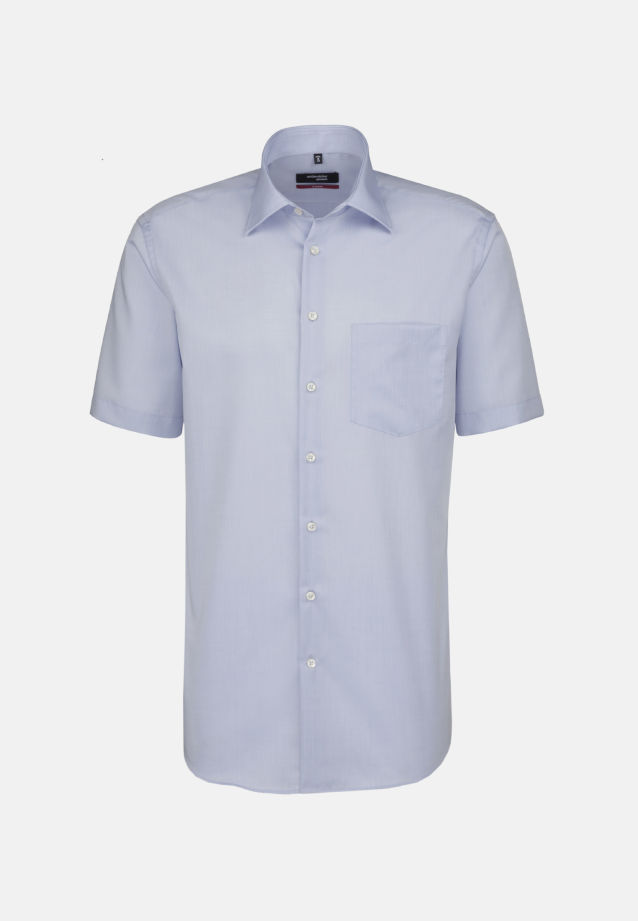 Non-iron Chambray Short sleeve Business Shirt in Regular with Kent-Collar in Medium blue |  Seidensticker Onlineshop