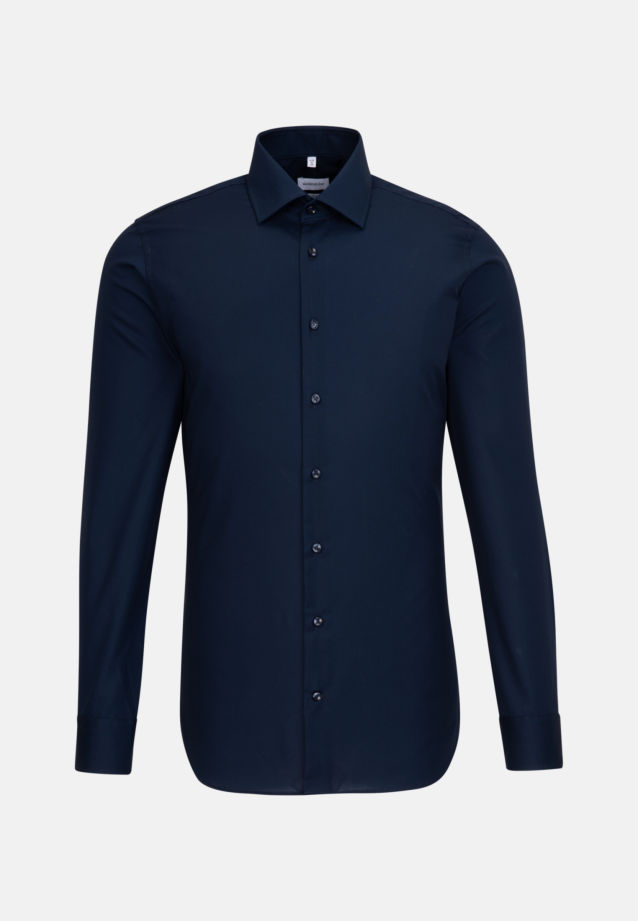 Non-iron Fil a fil Business Shirt in X-Slim with Kent-Collar in Dark blue |  Seidensticker Onlineshop