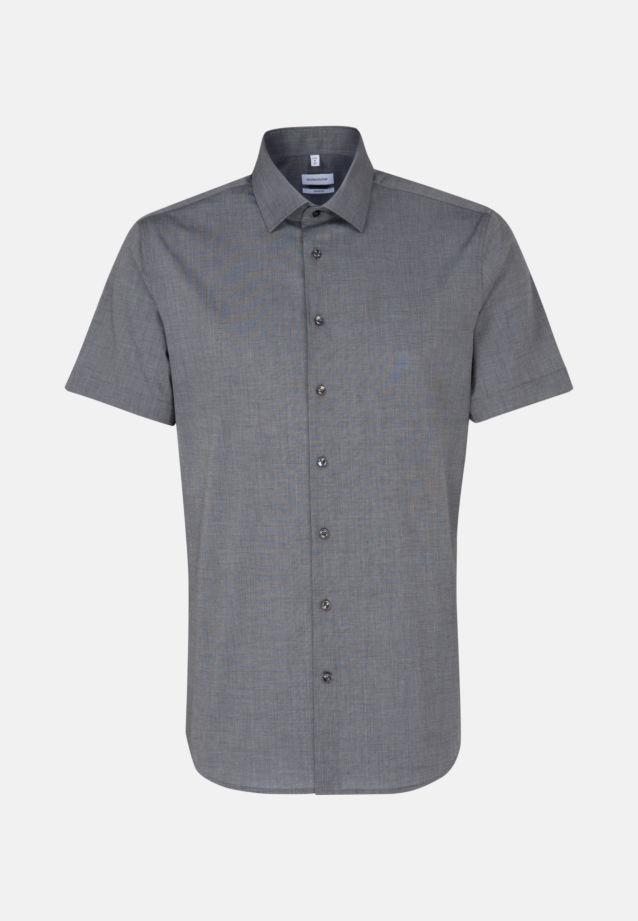 Bügelfreies Fil a fil Kurzarm Business Hemd in Shaped mit Kentkragen in Grau |  Seidensticker Onlineshop