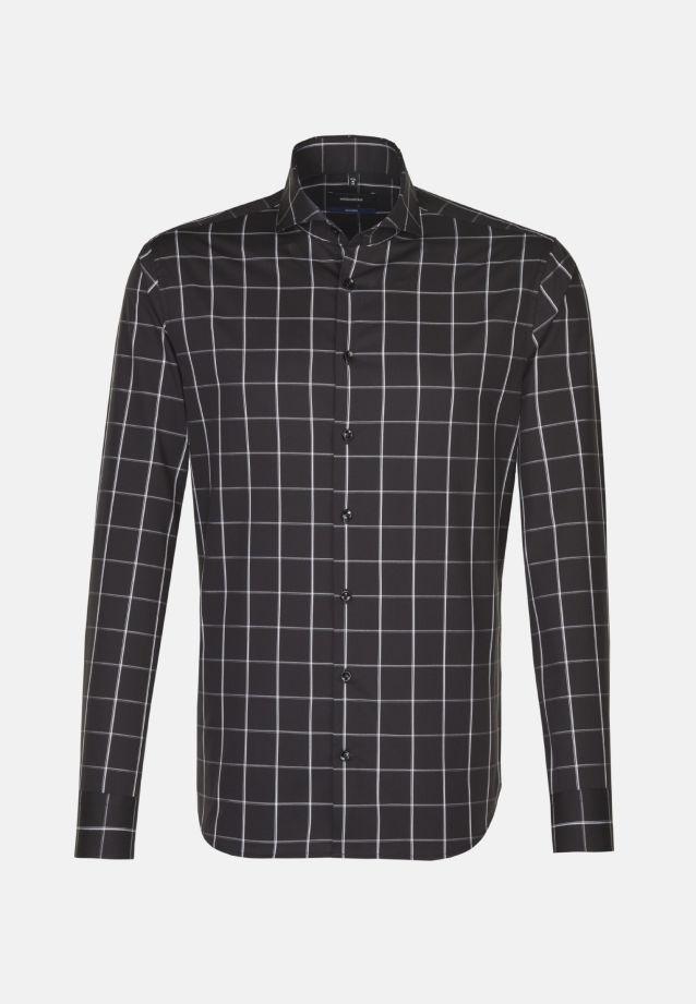 Bügelfreies Popeline Business Hemd in Tailored mit Haifischkragen in Schwarz |  Seidensticker Onlineshop