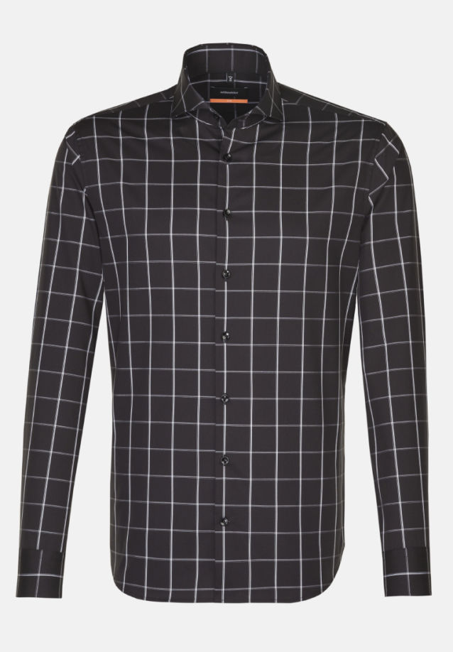 Non-iron Poplin Business Shirt in Slim with Shark Collar in Black |  Seidensticker Onlineshop