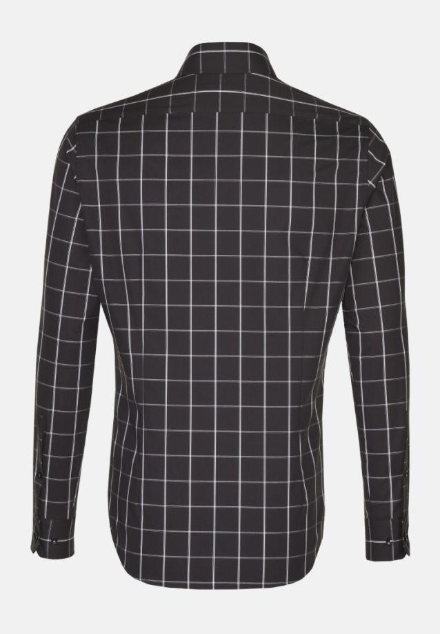 Bügelfreies Popeline Business Hemd in Slim mit Haifischkragen in Schwarz |  Seidensticker Onlineshop