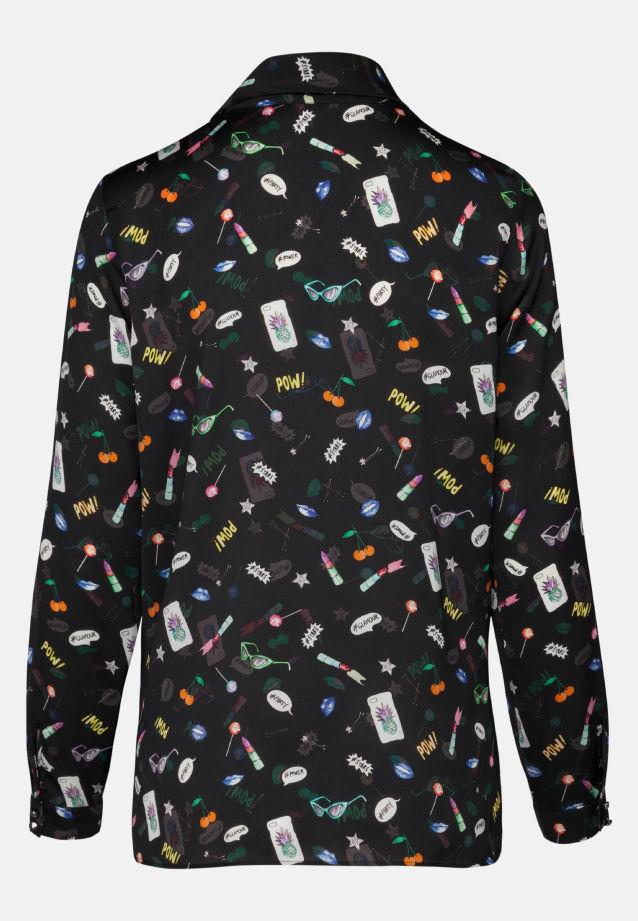 Satin Schluppenbluse aus 100% Polyester in schwarz-bunt |  Seidensticker Onlineshop