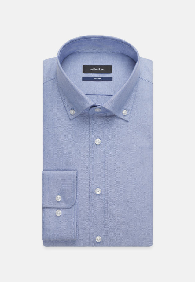 Bügelleichtes Oxford Business Hemd in Shaped mit Button-Down-Kragen in Hellblau |  Seidensticker Onlineshop