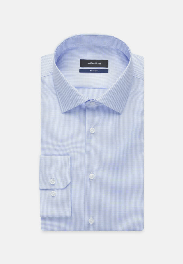 Non-iron Twill Business Shirt in Tailored with Kent-Collar in Medium blue |  Seidensticker Onlineshop