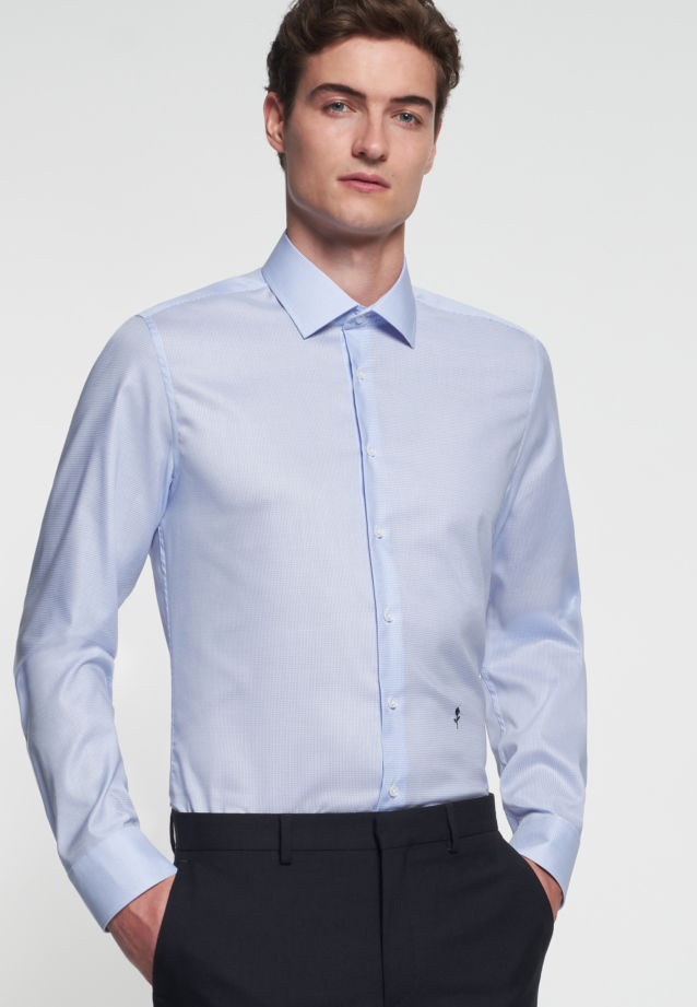 Non-iron Twill Business Shirt in Slim with Kent-Collar in Medium blue |  Seidensticker Onlineshop