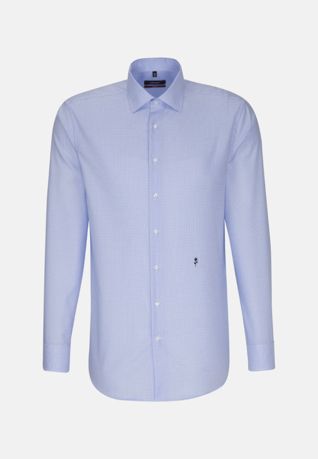 Non-iron Twill Business Shirt in Modern with Kent-Collar in Medium blue |  Seidensticker Onlineshop