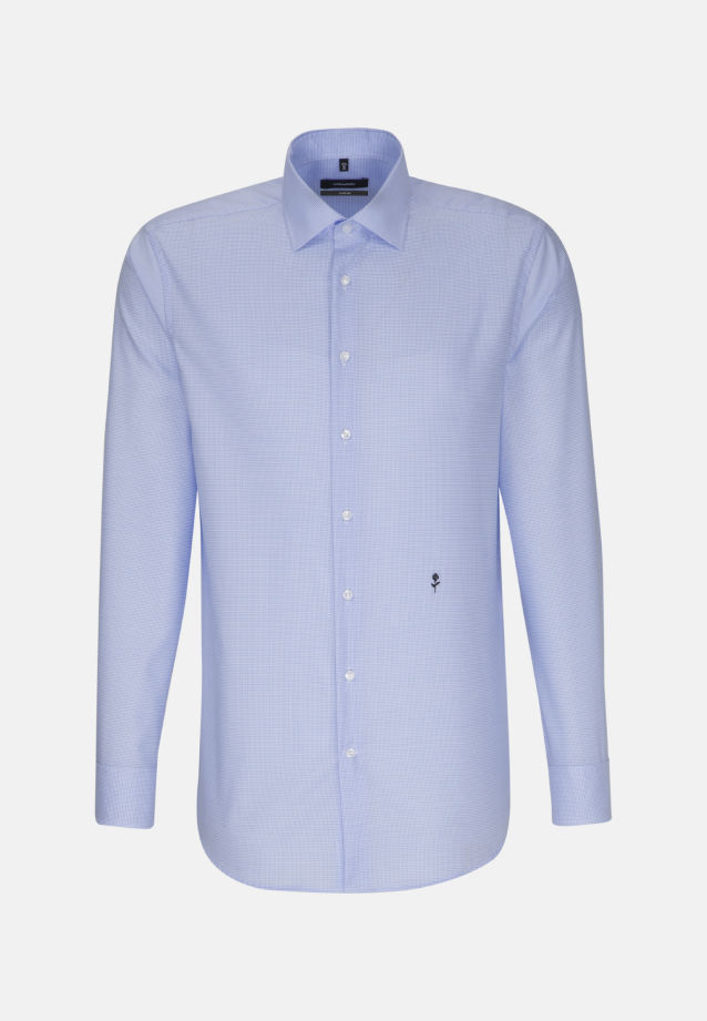Non-iron Twill Business Shirt in Comfort with Kent-Collar in Medium blue |  Seidensticker Onlineshop